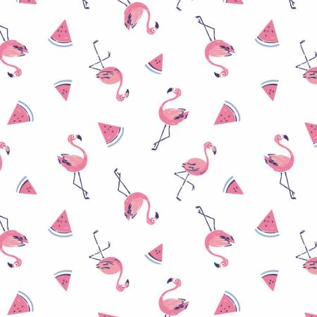 Summer Days Flamingo with Watermelons