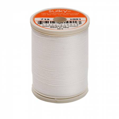 Cotton Thread 2-ply 12wt 660d 330yds Bright White