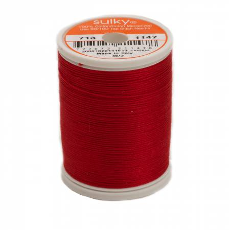 Sulky Cotton Thread 2-ply 12wt 660d 330yds Christmas Red *