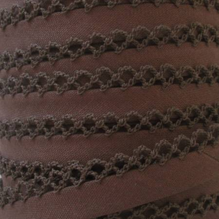 Double Fold Crochet Edge Bias Tape Solid Brown
