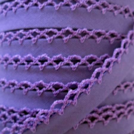 Double Fold Crochet Edge Bias Tape Solid Purple