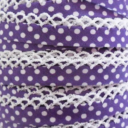 Double Fold Crochet Edge Bias Tape Polka Dot Purple