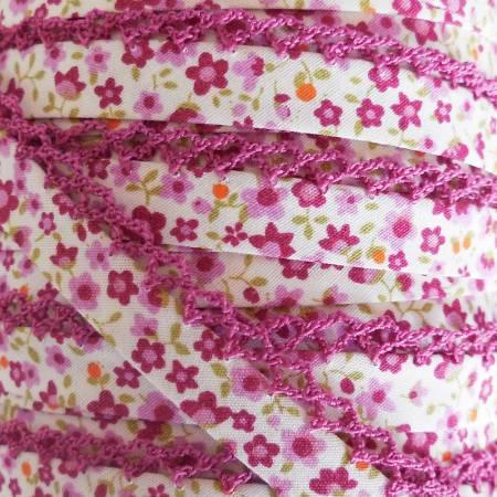 Double Fold Crochet Edge Bias Tape Purple Floral