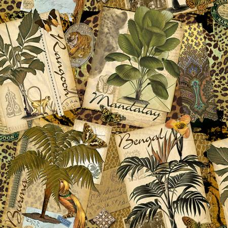 Exotic Plants and Animals with Text of Exotic Locations:  Exotic Travel by Kate Ward Thacker for Springs Creative