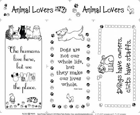 Animal Lovers in Black Ink on White Fabric