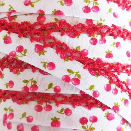 Double Fold Crochet Edge Bias Tape Cherry Floral