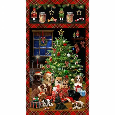 Fireside Pups -- 7190P-99  Red Banner Panel Christmas