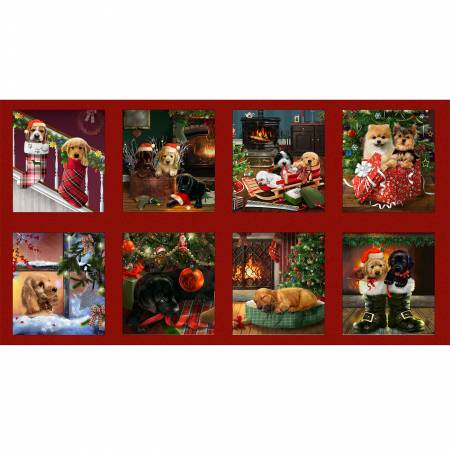 Henry Glass & Co. Fireside Pups Red 9in x 10in Blocks Christmas