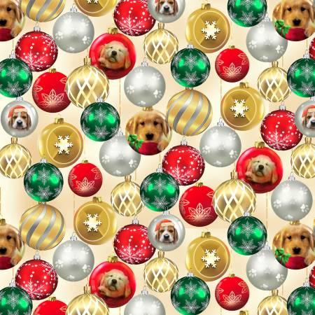 Fireside Pups Cream Glass Ornament, Christmas