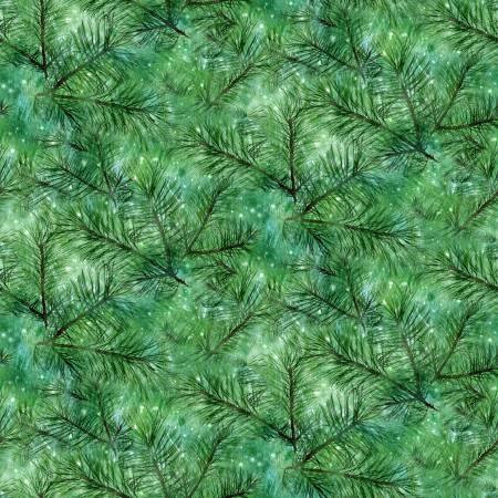 Henry Glass & Co. Fireside Pups Green Pine Texture Christmas