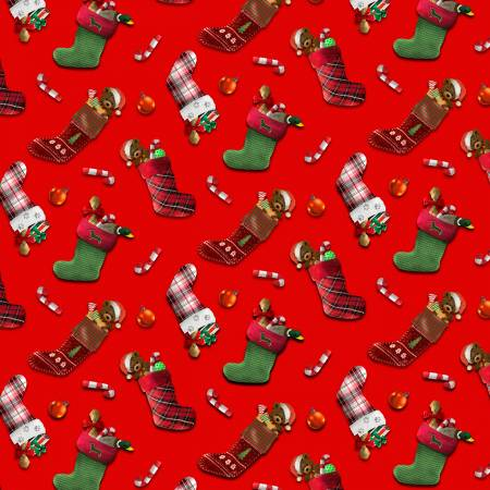 Fireside Pups -- 7199-88  Red Christmas Stocking