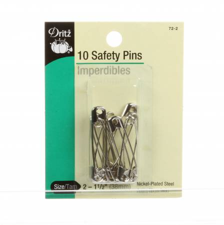 Safety Pins Nickel Size 2 1 1/2in 10ct