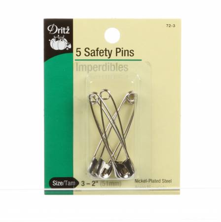Safety Pin Nickel Size 3 2in 5ct