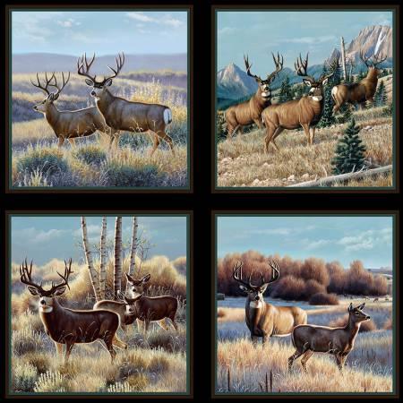 Elizabeth's Studio - Mule Deer in Sage Panel - 7200E-BLK (A-8)