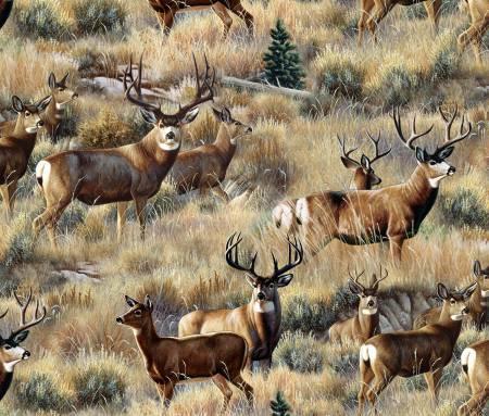 Elizabeth's Studio - Mule Deer in Sage - Gold
