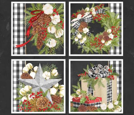 Christmas Gingham Pillow Panel