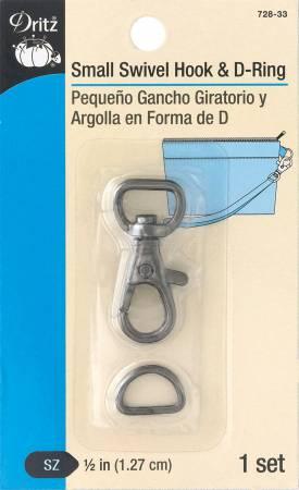 Small  Swivel Hook & D-Ring Gunmetal