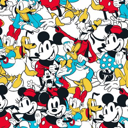 SPECIALTY FABRICS:  Disney Mickey & Friends Sensational 6 Snapshot on White by Springs Creative