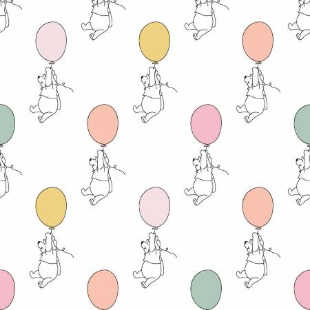 SPECIALTY FABRICS: Disney Winnie the Pooh Floating with Balloons on White:  Pooh Balloon by Springs Creative