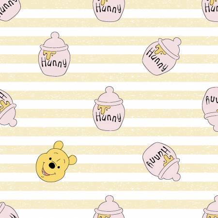 SPECIALTY FABRICS: Disney Winnie the Pooh and Honey Pots Yellow and White Stripes:  Pooh Hunny by Springs Creative