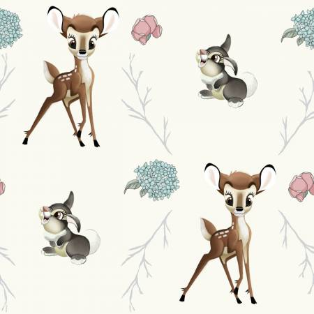 SPECIALTY FABRICS: Disney Bambi and Thumper on Cream:  Bambi Thumper Cross by Springs Creative
