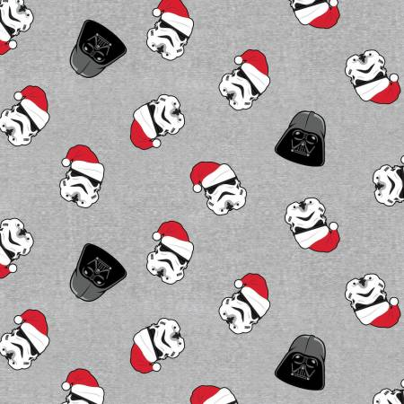 Grey Star Wars Christmas Vader & Trooper in Santa Hat