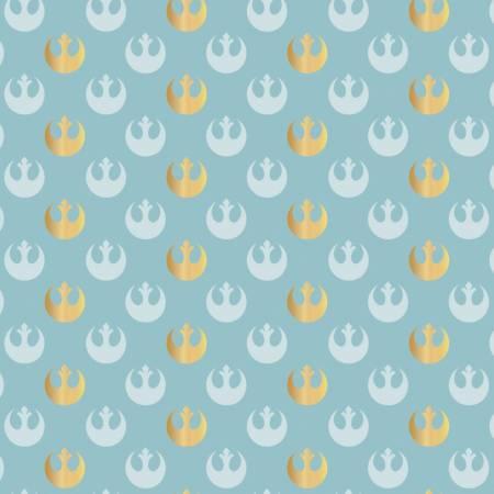 Flannel - Star Wars Rebel Logo - Blue w/ Gold Metallic  - 1pc - 1m/39.5in