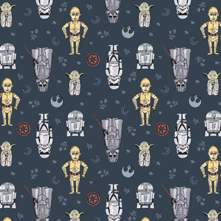 Blue Star Wars Doodle Figures Fabric by the Yard
