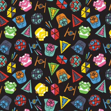 SPECIALTY FABRICS: Tossed Star Wars Cartoonish Icons on Black by Star Wars Lucasfilm for Camelot Fabrics