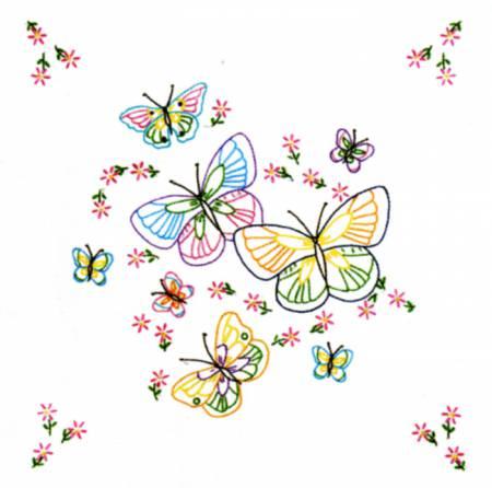 732-143 Fluttering Butterflies Quilt Block Set 18in Square