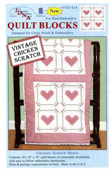 Jack Dempsey Hearts Quilt Blocks 18in 732-514