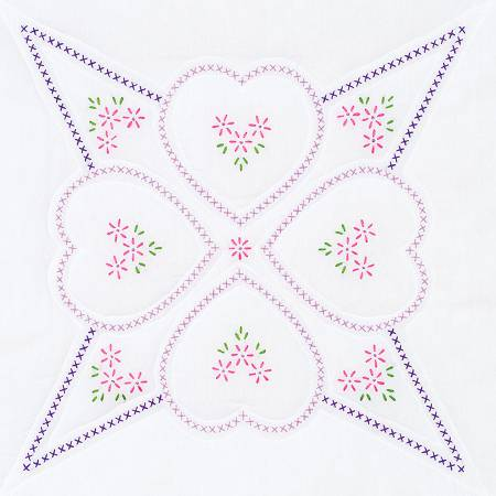 732-515 Four Hearts Quilt Blocks 18in Square