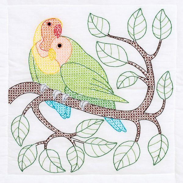 Embroidery Jack Dempsey Stamped White Quilt Blocks 18X18 6/Pkg Love Birds Quilt Blocks