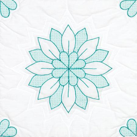 Interlocking Mandala Flower White 18in Quilt Square