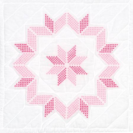Starburst 18in - Quilt Square - Pink