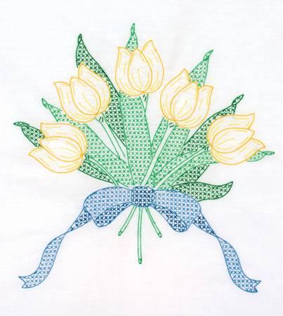 Tulips & Ribbon 18 in Quilt Blocks