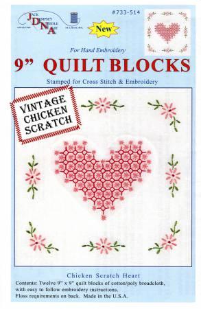733-514 Chicken Scratch Hearts Quilt Blocks 9in