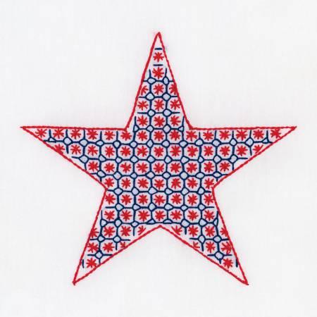 733-662 Chicken Scratch Star 9In Quilt Square