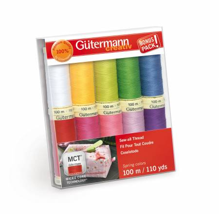 Sew-all Thread 10 spools 10 Colors 110yds Spring - Gutermann