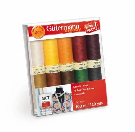 Sew-all Thread 10 spools 10 Colors 110yds Fall - Gutermann