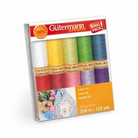 Cotton 50 10 spools 10 Colors 100m Spring