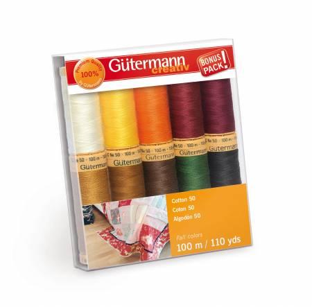 Cotton 50 - 10 spools Fall Colors 100m - Gutermann