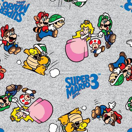 Nintendo Mario - Super Mario World on Gray Fabric by the Yard