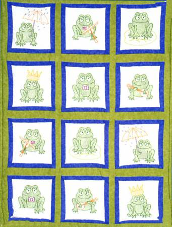 Frogs Theme Quilt Square