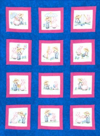737-539 Sunbonnet Sue & Sam Theme Quilt Blocks 9in Square