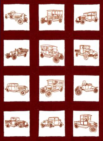 737-546 Vintage Vehicles Theme Quilt Blocks 9in Square