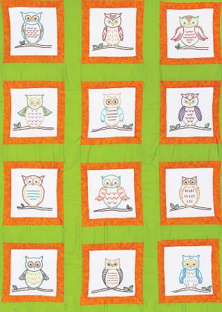 737-572 Owls Theme Quilt Blocks 9in  12 blocks