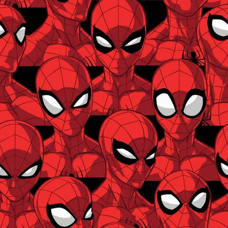 SPECIALTY FABRICS: Packed Spiderman Heads:  Marvel Spider Sense by Springs Creative