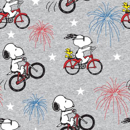 Peanuts - Patriotic Snoopy & Woodstock Fireworks - Gray / Springs Creative