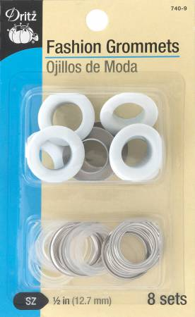 Fashion Grommets 1/2in White 8 Sets